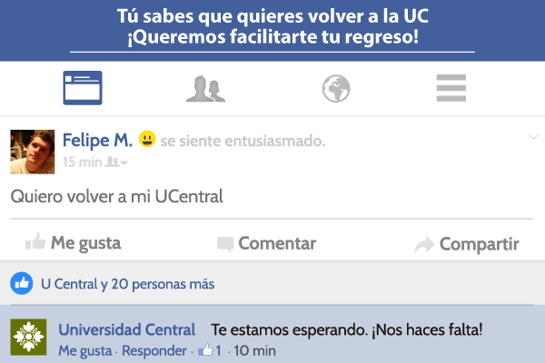 Reintegro a la Universidad Central